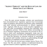 "Recensioni. ""Agency Threats"" and the Rule of Law: An Offer You Can't Refuse"
